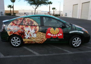 marcos pizza car wrap
