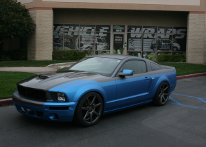 blue black car mustang car wrap