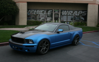 blue black car mustang car wrap