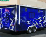 blue flames trailer wrap