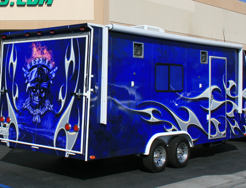 Blue Trailer Wrap With Flames